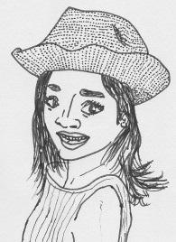 麦わら帽子をかぶった女性のイラスト